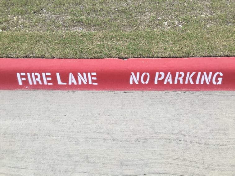 Fire lane striping on your curb in Tampa, Florida